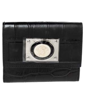 Versace Black Croc Embossed Leather Medusa Flap Compact Wallet