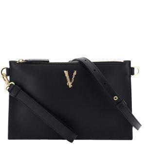 Versace Black Leather Virtus Clutch
