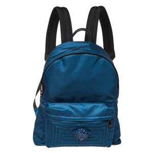 Versace Blue Nylon and Leather Medusa Pallazo Backpack