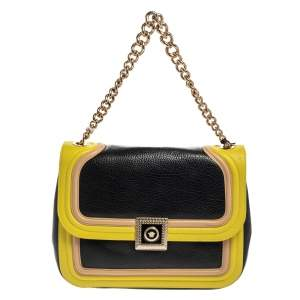 Versace Tricolor Leather Medusa Chain Flap Shoulder Bag