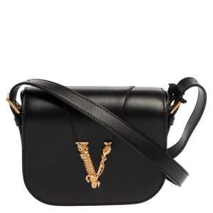 Versace Black Leather Small Virtus Saddle Bag