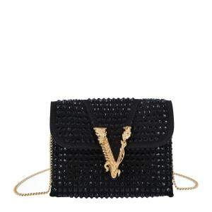 Versace Black Studded Leather/Suede Embellished Virtus Crossbody Bag