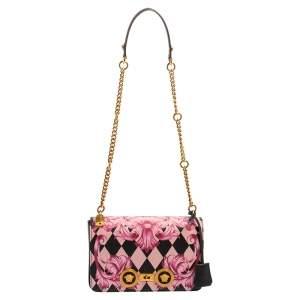 Versace Multicolor Printed Leather Medusa Lock Flap Shoulder Bag