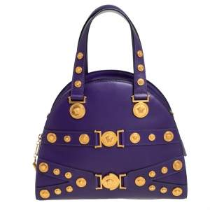 Versace Purple Leather Tribute Medallion Satchel
