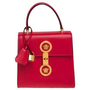 Versace Red Leather Icon Medusa Top Handle Bag