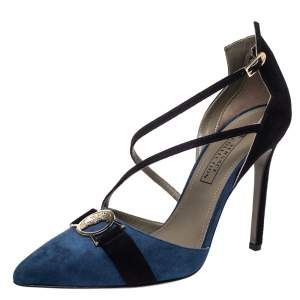 Versace  Blue/Black Suede Leather Medusa Strappy Pointed Toe Pumps Size 38