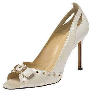 Versace White Leather Studded Buckle Detail Open Toe Pumps Size 41