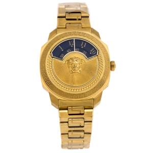 Versace Black Gold Plated Stainless Steel Dylos Icon VQU05 0015 Women's Wristwatch 38 mm