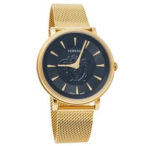 Versace Black Medusa Gold Tone Stainless Steel V-Circle VE8102119 Women's Wristwatch 38 mm