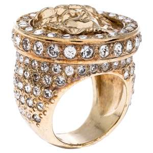 Versace Gold Tone and Crystal Studded Medusa Ring Size 54