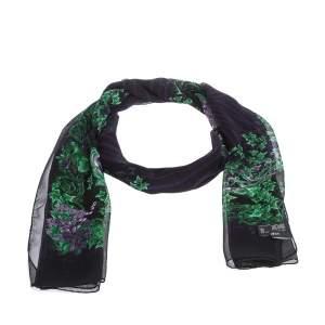 Versace Black & Purple Floral Print Silk Stole