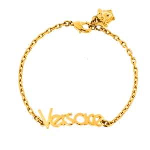 Versace Vintage Gold Tone Logo Bracelet
