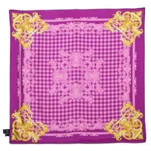 Versace Orchid Pink Medusa Print Silk Scarf