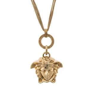 Versace Gold Tone Triple Chain Medusa Pendant Necklace