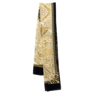 Versace White & Gold Baroque Print Silk Scarf