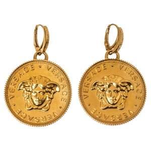 Versace Medusa Coin Gold Tone Drop Earring