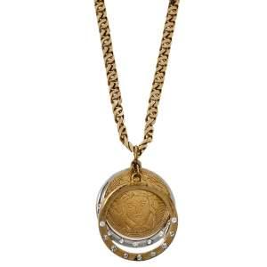 قلادة فيرساتشي كريستال ذهبية اللون تريبل هالو ميدوسا دلاية