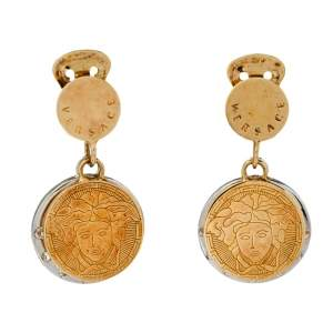 Versace Two Tone Crystal Halo Medusa Drop Clip On Earrings