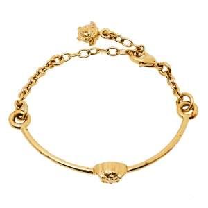 Versace Gold Tone Medusa Chain Link Cuff Bracelet