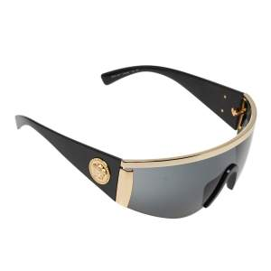 Versace Gold Tone/Grey 2197 Medusa Shield Sunglasses