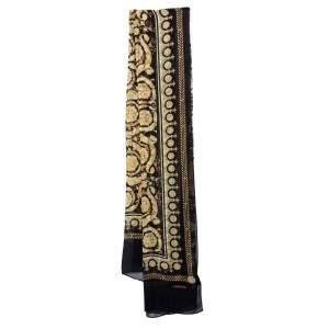 Versace Black Baroque Print Crepe Silk Stole