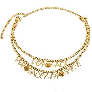 Versace Gold Tone Logo & Medusa Charms Chain Belt