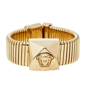 Versace Gold Tone Extendable Metal Medusa Icon Bracelet