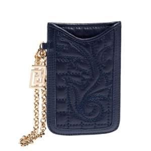 Versace Blue Leather Phone Holder