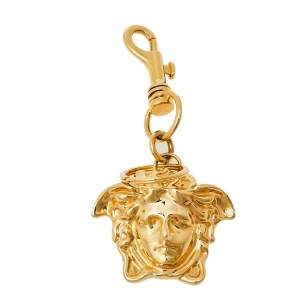 Versace Gold Tone Metal Medusa Icon Key Ring / Bag Charm