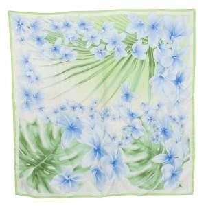 Versace Light Green Floral Print Silk Scarf