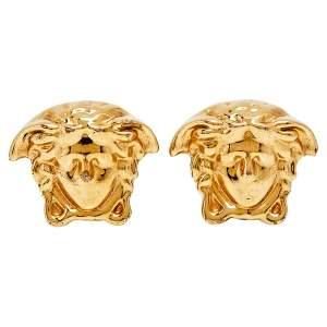 Versace Gold Tone Medusa Head Stud Earrings