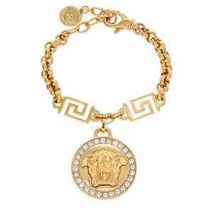Versace Gold Tone Crystal Icon Medusa Bracelet