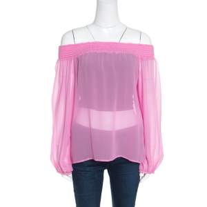 Versace Collection Pink Sheer Silk Smocked Off Shoulder Long Sleeve Blouse L