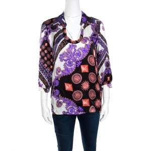 Versace Collection Multicolor Sun and Crystals Motif Printed Silk Blouse M