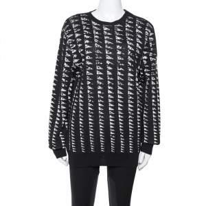 Versace Collection Monochrome Patterned Jacquard Shoulder Zip Detail Sweater L
