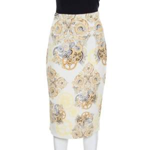 Versace Collection Cream Printed Pencil Midi Skirt M