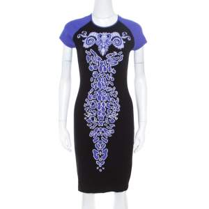 Versace Collection Black and Purple Jacquard Knit Fitted Cap Sleeve Dress M