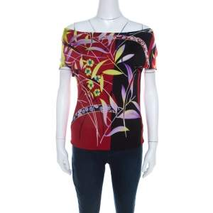 Versace Multicolor Floral Print Stretch Knit Off Shoulder Top M