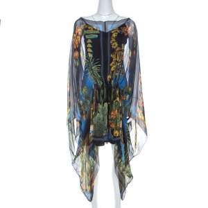 Versace Multicolor Palm Springs Print Sheer Silk Kaftan Top L