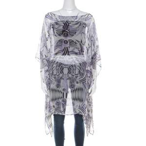 Versace White and Purple Fish Print Sheer Silk Kaftan Tunic Top M