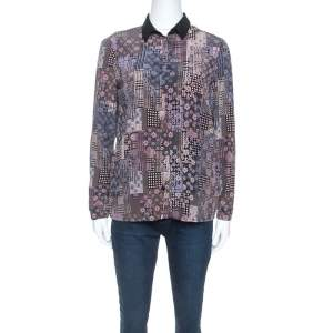 Versace Multicolor Abstract Printed Silk Long Sleeve Shirt S