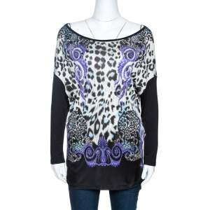 Versace Collection Black Printed Knit Dolman Sleeve Top S