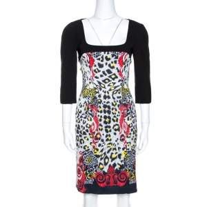 Versace Collection Black Printed Crepe Sheath Dress M