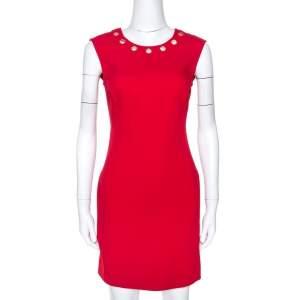 Versace Red Crepe Eyelet Embellished Sleeveless Dress M