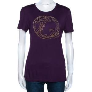 Versace Collection Aubergine Purple Jersey Studded Medusa T-Shirt M