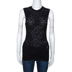 Versace Black Perforated Knit Sleeveless Crew Neck Top M