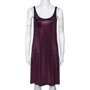 Versace Collection Black & Pink Knit Medusa Studded Sleeveless Dress M