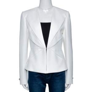 Versace Collection Off White Pleat Detail Blazer M