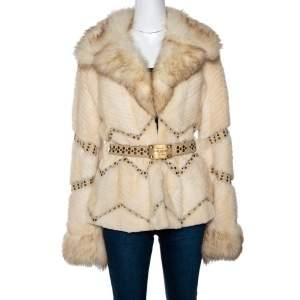 Versace Cream Mink Fur Stud Embellished Belted Coat S