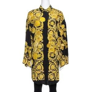 Versace Black Medusa Gold Chain Print Silk Shirt S